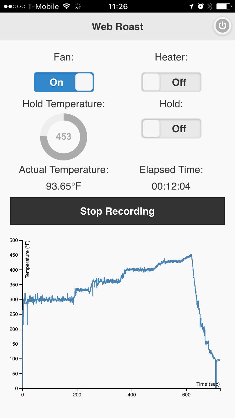 Screen shot of the web app user interface.