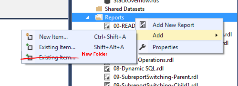Don't be fooled by my photo manipulating skills, this New Folder button doesn't actually exist in SSRS.