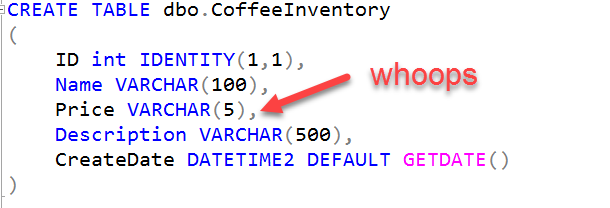 Who put numeric data into a string datatype? Someone who hasn't had their coffee yet today.