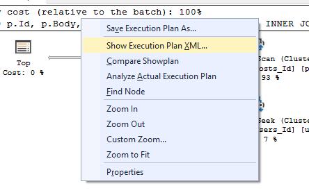 Show execution plan XML